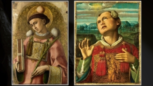 Left: Saint Stephen by Carlo Crivelli (1476). Right: Saint Stephen by Luca Signorelli (early 1500s)