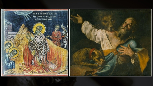 The martyrdom of Polycarp (left) and Ignatius of Antioch (right)